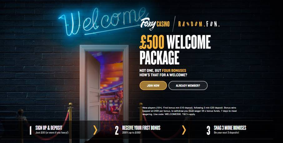 Foxy Casino welcome package