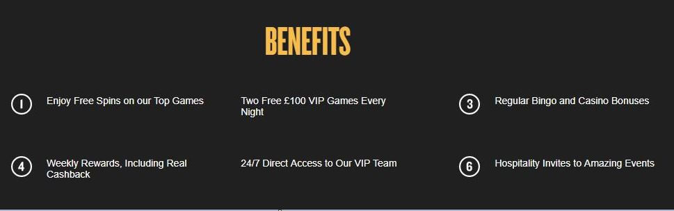 VIP benefits Foxy Bingo