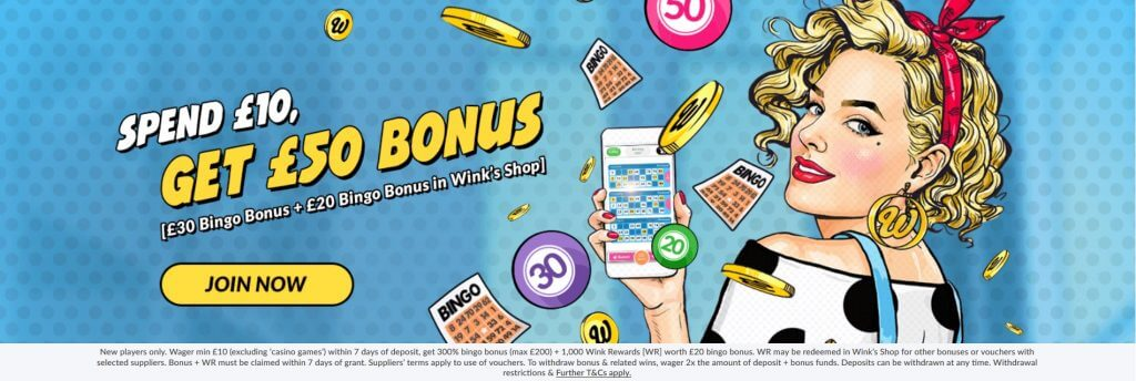 welcome bonus new player wink bingo