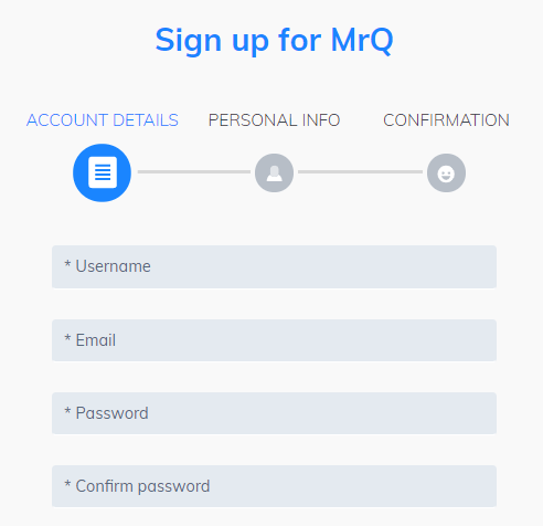 sign up at MrQ